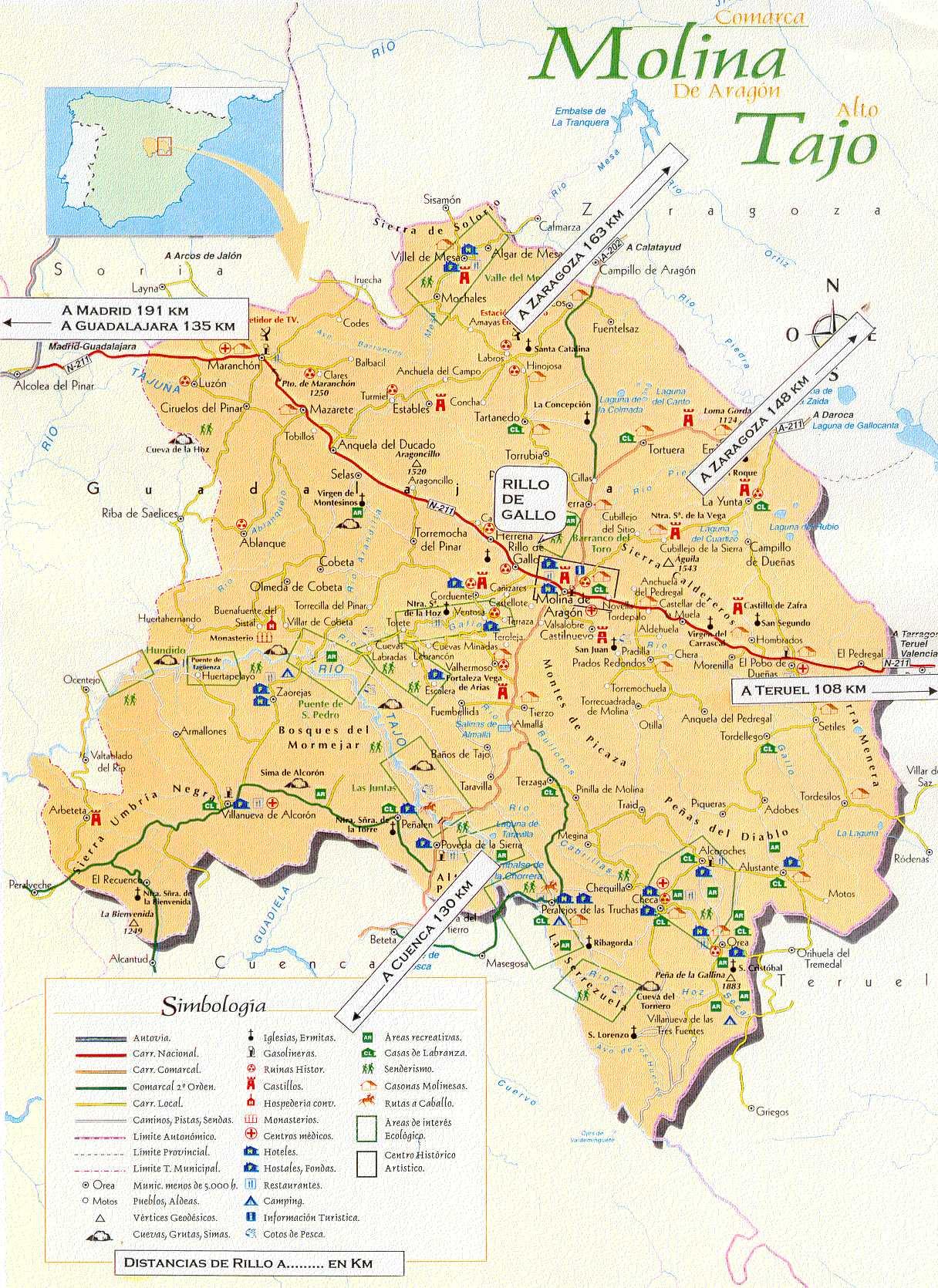 Molina De Aragon Mapa.Rillo De Gallo Como Llegar