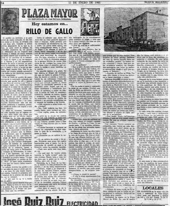 NUEVA ALCARRIA de 11 de enero de 1985, puedes ampliarlo para verlo un poco mejor, aunque en pdf si lo leerás.