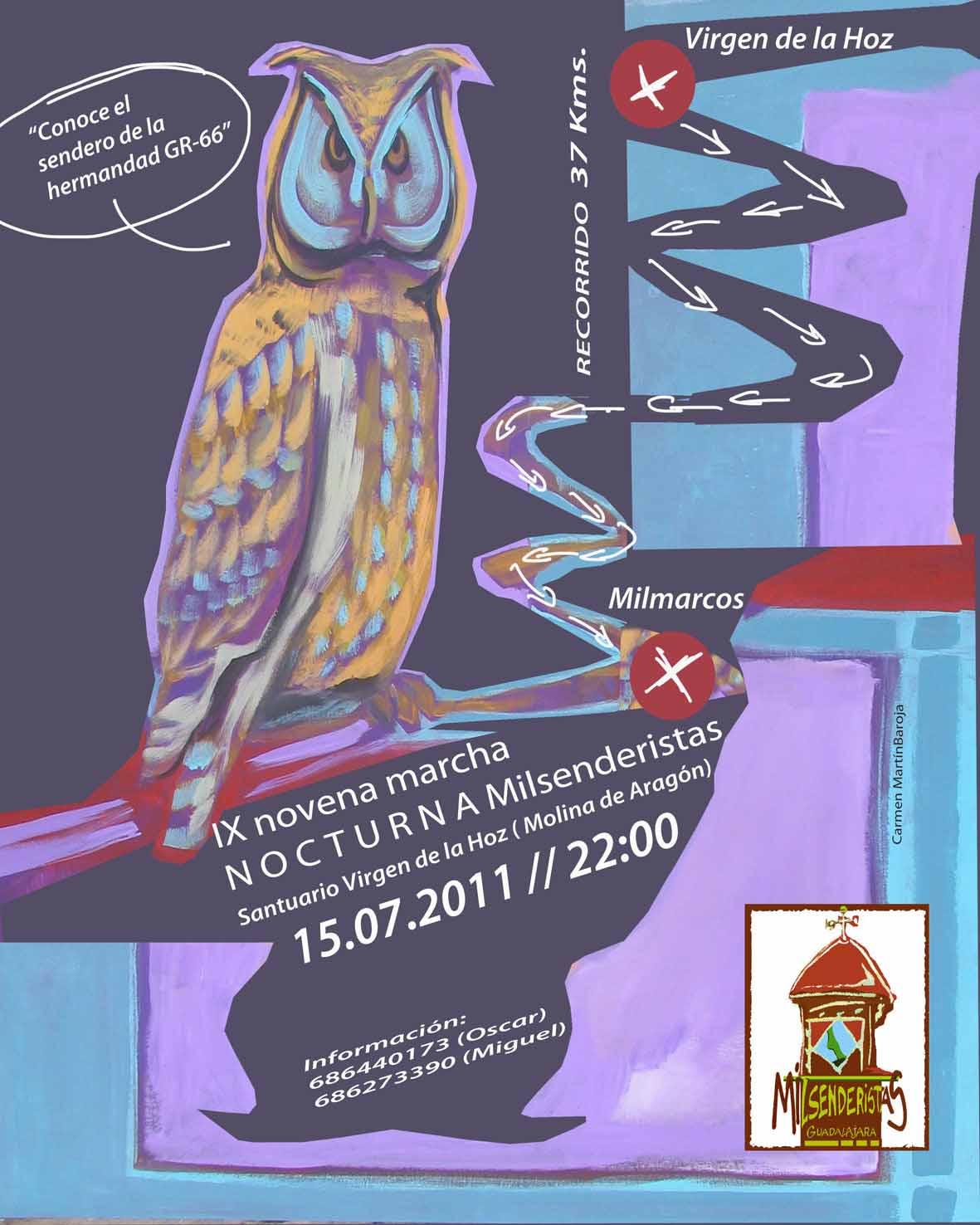 Pincha para ampliar el Cartel de la marcha nocturna de 15/07/2011 que organizan los de Milmarcos